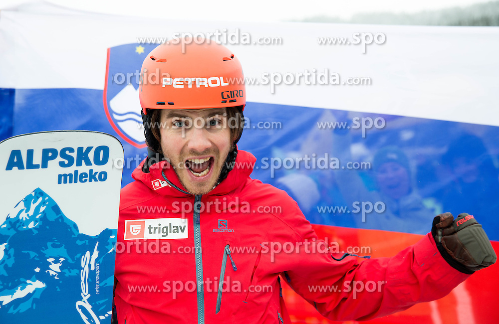 Zan Kosir of Slovenia celebrates after placed second during Men's Parallel Giant Slalom at FIS World Championships of Snowboard and Freestyle 2015, on January 23, 2015 at the WM Piste in Kreischberg, Austria. Photo by Vid Ponikvar / Sportida