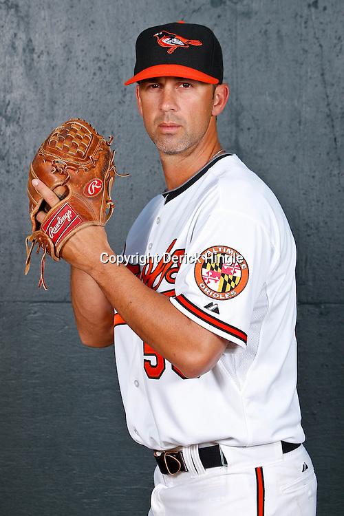 February 26, 2011; Sarasota, FL, USA; Baltimore Orioles pitcher David Riske (56) poses during photo day at Ed Smith Stadium.  Mandatory Credit: Derick E. Hingle