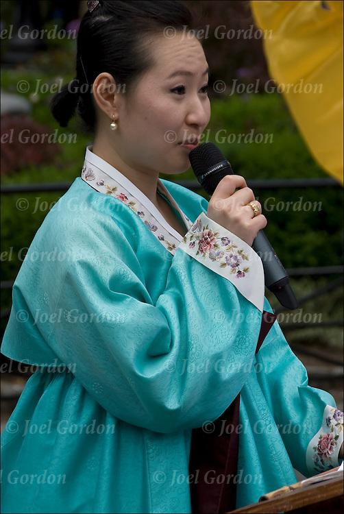 Korean speaker at the Lotus Lantern Festival in Union Square Park, New York City.