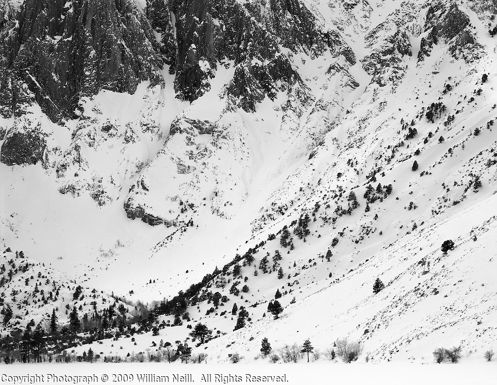 Cliffs at Convict Lake, winter, Inyo National Forest, California