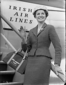 1958 - Miss Jean Cox boarding a flight at Dublin Airport