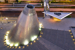 United States, Washington,Tacoma (aerial view).  Cone of Hot Shop at Museum of Glass (aerial view)
