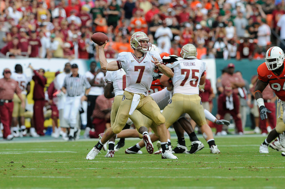 October 4, 2008 - Miami Gardens, FL<br /> <br /> Florida State University quarterback Christian Ponder drops back to pass during the Seminoles 41-39 victory over the Miami Hurricanes at Dolphin Stadium in Miami Gardens, Florida.<br /> <br /> JC Ridley/CSM