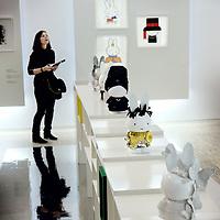 Nederland, Utrecht , 31 maart 2011..Het dick bruna huis in Utrecht viert dit jaar - het Jaar van het Konijn - haar 5-jarig jubileum! Speciaal voor deze feestelijke gelegenheid heeft het Centraal Museum nationale en internationale modeontwerpers gevraagd een feestjurk te ontwerpen voor nijntje. Ontwerpers, onder wie Saskia van Drimmelen, Claes Iversen, Jan Taminiau, het Britse Boudicca en het Japanse Minä Perhonen, werken aan een ontwerp voor een nijn van 40 cm. hoog, waarbij ze zich laten inspireren door het werk van nijntjes geestelijke vader Dick Bruna. Dick Bruna zelf heeft op papier een nieuwe feestjurk ontworpen, evenals Piet Paris. De illustraties en de modeontwerpen worden vanaf 1 april 2011 getoond in de nieuwe presentatie nijntje in de mode, samen met ruim 100 modegerelateerde werken uit het oeuvre van Dick Bruna.. Op de foto the catwalk met Nijntje in diverse kledij..?..Foto:Jean-Pierre Jans