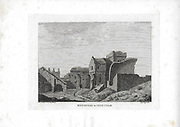 Engravings of Scottish landscapes and buildings from late eighteenth century, Monastery in Inch Colm, Scotland, UK