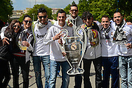 General view of the exterior of the stadium showing Real Madrid fans posing with a cardboard cutout of the Champions League trophy pictured ahead of the UEFA Champions League Final at Estádio da Luz, Lisbon<br /> Picture by Ian Wadkins/Focus Images Ltd +44 7877 568959<br /> 24/05/2014