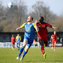 TELFORD COPYRIGHT MIKE SHERIDAN 23/2/2019 - Dan Udoh of AFC Telford battles for the ball with Alex Gudger during the FA Trophy quarter final fixture between Solihull Moors and AFC Telford United at the Automated Technology Group Stadium