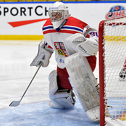 WHITBY, - Dec 16, 2015 -  Game #8 - Czech Republic vs. Canada East at the 2015 World Junior A Challenge at the Iroquois Park Recreation Complex, ON.  Josef Korenar #30 of Team Czech Republic during the second period.<br /> (Photo: Shawn Muir / OJHL Images)