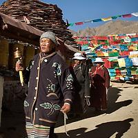 Tibetan Pilgrims pray in the Tibetan Capital, Lasa, during the celebrations of Tibetan New Year, in Lasa. Tibet, China/Feb. 22, 2007.