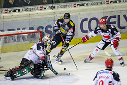 28.10.2016, Messestadion, Dornbirn, AUT, EBEL, Dornbirner Eishockey Club vs HC TWK Innsbruck Die Haie, 15. Runde, im Bild v. l. Andy Chiodo, (HC TWK Innsbruck, #30), Stefan Haeußle, (Dornbirner Eishockey Club, #92) und Hunter Bishop, (HC TWK Innsbruck, #08) // during the Erste Bank Icehockey League 15th round match between Dornbirner Eishockey Club and HC TWK Innsbruck Die Haie at the Messestadion in Dornbirn, Austria on 2016/10/28, EXPA Pictures © 2016, PhotoCredit: EXPA/ Peter Rinderer