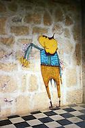 Os Gemeos graffiti in Santa Fe, Havana, Cuba.