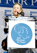 Ban Soon-taek speaks during the March To End Violence Against Women at the United Nations Headquarters in New York City, New York on March 07, 2014.