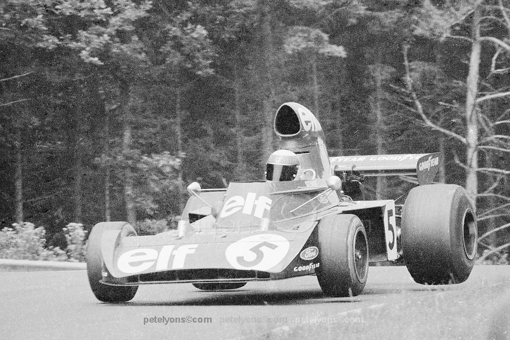 Jackie Stewart flies his Tyrrell over the Pflanzgarten jump, Nurburgring, 1973.