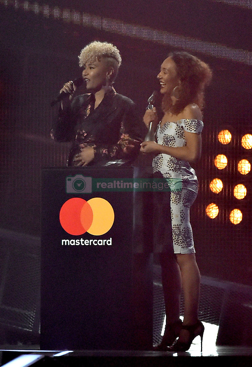Emeli Sande with the award for Best British Female Solo Artist on stage at the BRIT Awards 2017, held at The O2 Arena, in London.<br />
