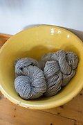 Skeins of local wool - Lambswool - from grey Gotland sheep at Croft Wools and Weavers, Applecross in the Highlands of Scotland