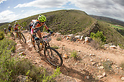 Esther Suss and Sally Bigham of Team meerendal prepare to descend during stage 3 of the 2014 Absa Cape Epic Mountain Bike stage race held from Arabella Wines in Robertson to The Oaks Estate in Greyton, South Africa on the 26 March 2014<br /> <br /> Photo by Greg Beadle/Cape Epic/SPORTZPICS