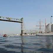Tall ship Gazela approaches the raised Memorial Bridge as it sails up the Piscataqua River in Portsmouth, NH