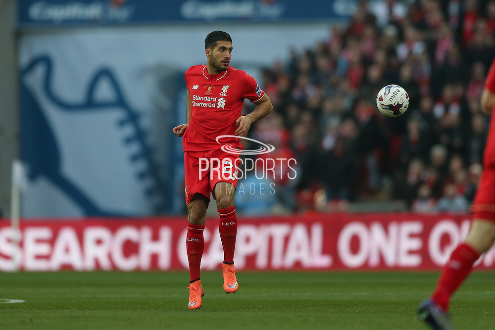 Liverpool midfielder Emre Can (23)  during the Capital One Cup match between Liverpool and Manchester City at Anfield, Liverpool, England on 28 February 2016. Photo by Simon Davies.