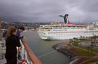 "(Image one of nine) Panorama of the Ensenada harbor in Mexico on a grey and raining day from the deck of the MV World Odyssey. The other cruse ship is the Carnival Imagination. Once all of the students, faculty, staff, and life long learners were aboard we would be ready to begin the 102 day ""round the world"" Semester at Sea Spring 2016 Voyage. Composite of nine images taken with a Leica T camera and 23 mm f/2 lens (ISO 250, 23 mm, f/2, 1/80 sec). Panorama stitched using AutoPano Giga Pro."