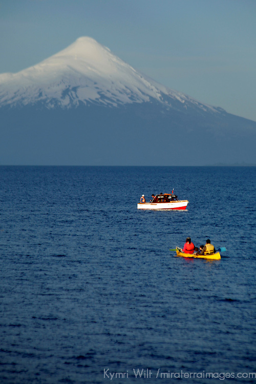South America, Chile, Puerto Varas. Boats on Llanquihue Lake with the Osorno Volcano, Puerto Varas.
