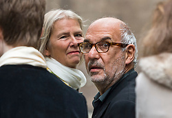 © London News Pictures. 05/03/2016. London, UK. ALAN YENTOB and wife PHILLIPA attends a ceremony to mark the wedding of Rupert Murdoch and Jerry Hall held at St Brides Church on Fleet Street,  central London on February 05, 2016. . Photo credit: Ben Cawthra /LNP