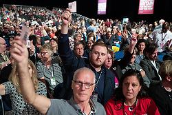 © Licensed to London News Pictures . 23/09/2018. Liverpool, UK. Delegates vote during the morning session . The first day of the 2018 Labour Party Conference at the Arena and Convention Centre in Liverpool . Photo credit: Joel Goodman/LNP