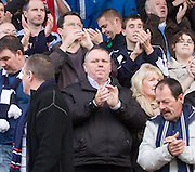 Former Dundee chairman Jimmy Marr (centre) joins in the standing ovation for Dundee at full time - Stirling Albion v Dundee, IRN BRU Scottish League 1st Division, Forthbank Stadium, Stirling<br /> <br />  - © David Young<br /> ---<br /> email: david@davidyoungphoto.co.uk<br /> http://www.davidyoungphoto.co.uk