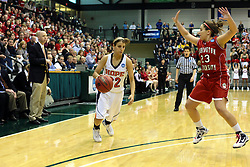 20 March 2010: Bethany Morrison arrives to challenge the rush of Liz Ellis. The Flying Dutch of Hope College fall to the Bears of Washington University 65-59 in the Championship Game of the Division 3 Women's NCAA Basketball Championship the at the Shirk Center at Illinois Wesleyan in Bloomington Illinois.