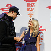 NLD/Amsterdam/20131109 - Pressconference MTV EMA 2013, Laura Whitmore and DJ Afrojack, Nick van der Wall