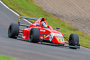 Alex Connor (GBR) of Arden Motorsport exits Butchers during Round 23 of the FIA Formula 4 British Championship at Knockhill Racing Circuit, Dunfermline, Scotland on 15 September 2019.