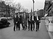 Members of the Royal Showband, Waterford, pictured with the Carl Alan award, which they received in London the previous night. From left: Tom Dunphy,   Gerry Cullen, Eddie Sullivan, Brendan Bowyer, Michael Coppinger, Charlie Matthews, Jim Conlon..06.02.1962