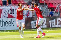 UTRECHT - 28-05-2017, FC Utrecht - AZ, Stadion Galgenwaard, FC Utrecht speler Willem Janssen (l) heeft de 1-0 gescoord, FC Utrecht speler Sebastien Haller