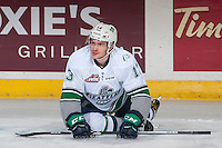 KELOWNA, CANADA - DECEMBER 7: Mathew Barzal #13 of the Seattle Thunderbirds stretches on the ice during warm up against the Kelowna Rockets on December 7, 2016 at Prospera Place in Kelowna, British Columbia, Canada.  (Photo by Marissa Baecker/Shoot the Breeze)  *** Local Caption ***
