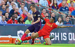 LONDON, ENGLAND - Saturday, August 6, 2016: Liverpool's Nathaniel Clyne in action against Barcelona's Jérémy Mathieu during the International Champions Cup match at Wembley Stadium. (Pic by David Rawcliffe/Propaganda)