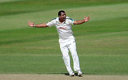 Nottinghamshire's Samit Patel unsuccessfully appeals for the LBW of Somerset's Marcus Trescothick - Photo mandatory by-line: Harry Trump/JMP - Mobile: 07966 386802 - 16/06/15 - SPORT - CRICKET - LVCC County Championship - Division One - Day Three - Somerset v Nottinghamshire - The County Ground, Taunton, England.