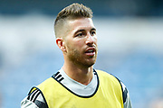 Real Madrid's Spanish defender Sergio Ramos warms up before the Spanish championship Liga football match between Real Madrid CF and Leganes on September 1, 2018 at Santiago Bernabeu stadium in Madrid, Spain - Photo Benjamin Cremel / ProSportsImages / DPPI