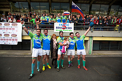 Brothers Skofic with mother after rugby match between National team of Slovenia (green) and Bulgaria (white) at EUROPEAN NATIONS CUP 2012-2014 of C group 2nd division, on April 12, 2014, at ZAK Stadium, Ljubljana, Slovenia. (Photo by Matic Klansek Velej / Sportida.com)
