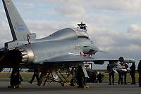 """03 NOV 2003, LAAGE/GERMANY:<br /> Eurofighter EF 2000 """"Typhoon"""" hier in der zweisitzigen Ausbildungsversion, neues Jagdflugzeug der Bundesluftwaffe, Jagdgeschwader 73 """"Steinhoff"""", Fliegerhorst Laage<br /> IMAGE: 20031103-01-009<br /> KEYWORDS: Bundeswehr, Bundesluftwaffe, Jet, Kampfflugzueg"""