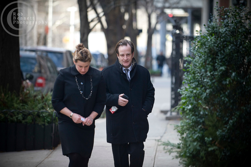 "Note: woman seen is identity unknown..---.Wed Jan 4, 2011: Man believed to be Matthew Badger is pictured outside of the Frank E. Campbell funeral home during the wake of his daughters (10-year-old Lilly and 7-year-old twins Grace and Sarah Badger) who perished in a Christmas Day fire in Stamford, CT.  Credit: Rob Bennett for The Wall Street Journal***IF USED BY NBC (per terms of agreement) image must be prominently credited as: ""Courtesy The Wall Street Journal""***"