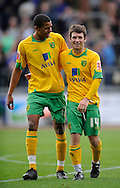 Carlisle - Saturday October 10th, 2009: Tom Adeyemi (L) of Norwich City celebrates with matchwinner Wes Hoolahan at the final whistle during the Coca Cola League One match at Brunton Park, Carlisle. (Pic by Jed Wee/Focus Images)..