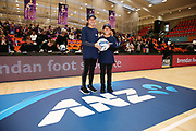 ANZ Future Captains Ata Heta aged 12 and Violet Heta aged 10 pose for a photo prior to the match. 2018 ANZ Premiership netball match, Stars v Pulse at Pulman Arena, Auckland, New Zealand. 15 July 2018 © Copyright Photo: Anthony Au-Yeung / www.photosport.nz