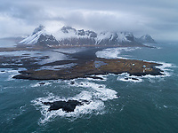 Stokksnes aerial drone shot. East Iceland.