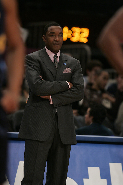 Isiah Thomas of the the Knicks coaches against the Nuggets at Madison Square Garden in New York, Saturday, Dec. 18, 2006. NBA scoring leader Carmelo Anthony was suspended for 15 games Monday and six other players were penalized as commissioner David Stern came down hard on both teams after the Nuggets and Knicks brawled at Madison Square Garden. Stern fined each organization $500,000. But there was no separate penalty for Knicks coach Isiah Thomas, who had warned Anthony not to go into the lane before the mayhem started Saturday night. (Andrew Gombert for The New York Times)