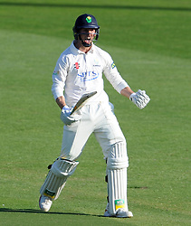 Glamorgan's Craig Meschede celebrates his century. - Photo mandatory by-line: Harry Trump/JMP - Mobile: 07966 386802 - 21/04/15 - SPORT - CRICKET - LVCC County Championship - Division 2 - Day 3 - Glamorgan v Surrey - Swalec Stadium, Cardiff, Wales.