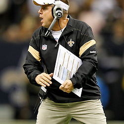 September 25, 2011; New Orleans, LA, USA; New Orleans Saints head coach Sean Payton against the Houston Texans during the fourth quarter at the Louisiana Superdome. The Saints defeated the Texans 40-33. Mandatory Credit: Derick E. Hingle