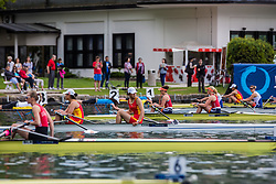 Competitors waiting to start during semi final round  Rowing World Cup on May 9, 2015, at Bled's lake, Bled, Slovenia. (Photo by Grega Valancic / Sportida)