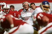 PALO ALTO, CA -  SEPTEMBER 26:  Head coach Bill Walsh of Stanford University watches from the sidelines during an NCAA football game against San Jose State played at Stanford Stadium in Palo Alto, California on September 26, 1992. (Photo by David Madison/Getty Images) *** Local Caption *** Bill Walsh