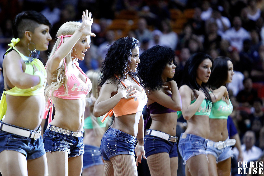 17 January 2012: Miami Dancers perform during the Miami Heat 120-98 victory over the San Antonio Spurs at the AmericanAirlines Arena, Miami, Florida, USA.