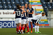 Scotland players celebrate Scotland's first goal (1-1) scored by Erin Cuthbert (#22) of Scotland during the FIFA Women's World Cup UEFA Qualifier match between Scotland Women and Belarus Women at Falkirk Stadium, Falkirk, Scotland on 7 June 2018. Picture by Craig Doyle.