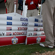 Ryder Cup 2016. Day Two. Score placard carriers before the start of competition during the Ryder Cup at the Hazeltine National Golf Club on October 01, 2016 in Chaska, Minnesota.  (Photo by Tim Clayton/Corbis via Getty Images)
